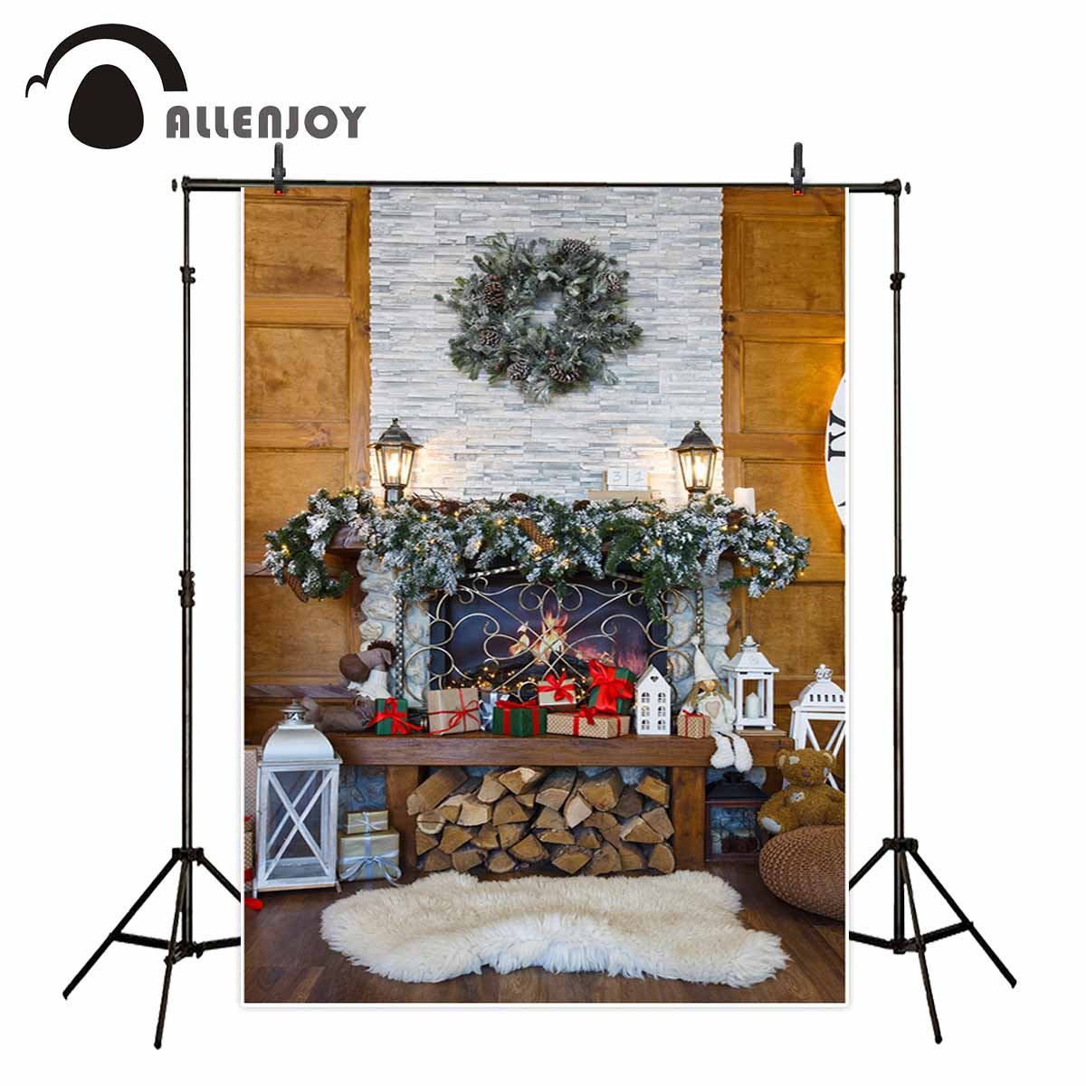 Allenjoy christmas decorations for home backdrop fireplace wood gift carpet photographic background photo booth allenjoy christmas backdrop tree gift chandelier fireplace cute professional background backdrop for photo studio