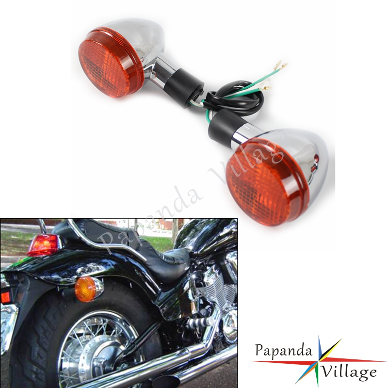 Papanda Motorbike Chrome Rear Turn Signal Indicator Lamp Amber Light For Honda Shadow 400 750 VT750 04-07