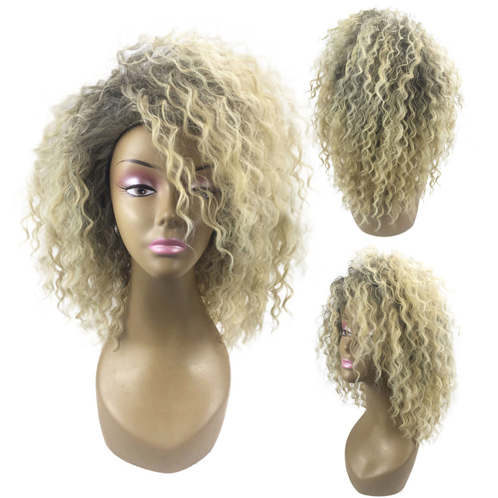 New Women Wedding Blonde Kinky Curly Wig Afro American Wigs Soft Synthetic Wig for Fashion Women x#dropship cheap afro kinky synthetic wig african american short wigs for black women ombre red brown female cosplay wig