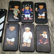 Cute Bear Italy Luxury brand GG phone cover case for iphone X XS MAX XR 10 8 7 6 6S plus funda 3d relief soft matte silicon CASE