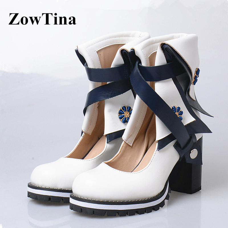 b484c9a9c60 Women Genuine Leather Autumn Boots 8cm Chunky High Heels Ankle Boot Shoes  Woman Gladiator Botines Mujer Cross Strap Zapatillas