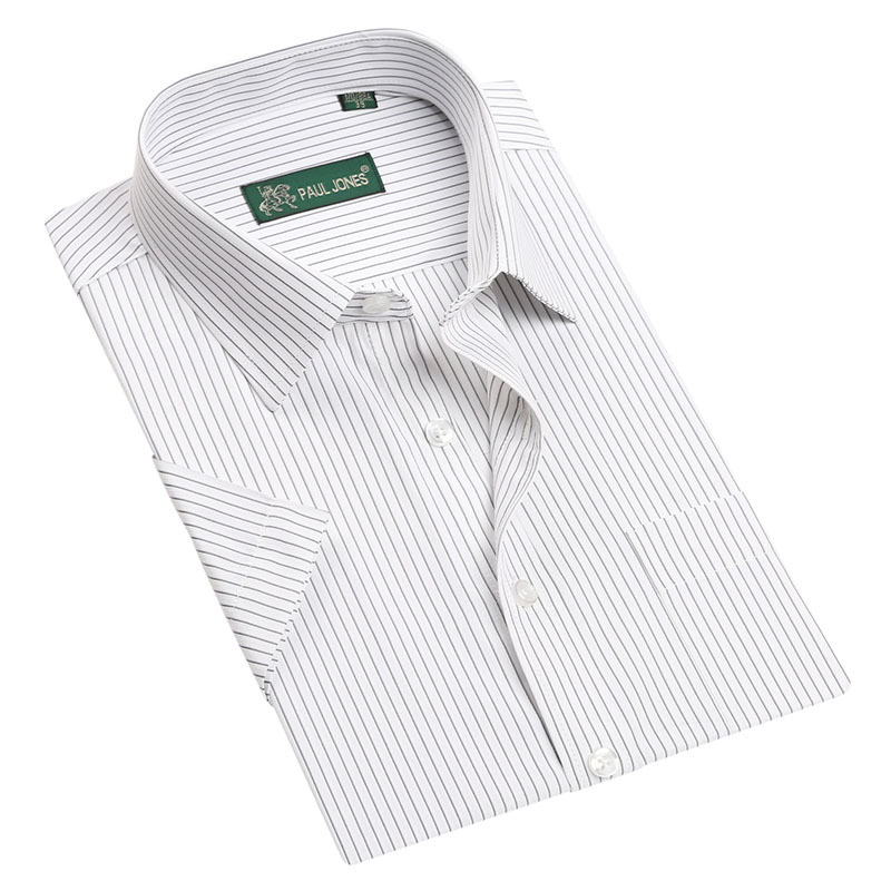 New 2014 Mens Short Sleeve Shirts Male Striped Formal Dress Shirt Work Wear Easy Care Spring
