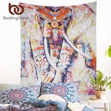 BeddingOutlet Colored Elepahant Tapestry Indian Style Boho Tapestry Wall Hanging 130cmx150cm 153cmx203cm Bohemia Art Carpet