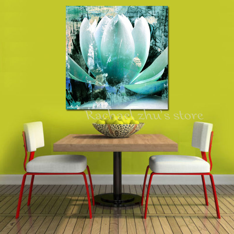 Modern Art Hand Painted Abstract Water Lily Oil Painting On Canvas ...