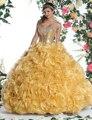 Top querida Lantejoula Organza Puffy vestido de Baile Amarelo Debutantes Quinceanera Vestidos Doce 16 Dresses Vestido De 15 N ° S 15 Anos