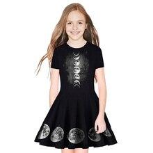 купить New Summer Dress Girl Star Print Dress Teen Princess Party Dress Fashion Short Sleeve Dress дешево