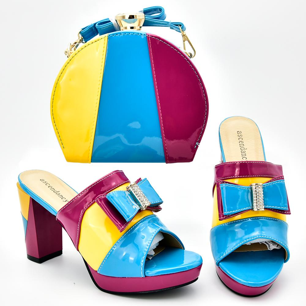 2019 Newest arrived Hot Selling Italian Shoes And Bag Set High Heels African Design Shoes With Matching Bag Slipper For Party2019 Newest arrived Hot Selling Italian Shoes And Bag Set High Heels African Design Shoes With Matching Bag Slipper For Party