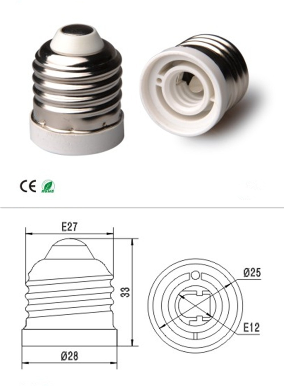 Lighting Accessories Free Shipping 10pcs/lot E27 To E12 Led Light Bulb Base Socket Adapter Lamp Holder Converter Lovely Luster Lamp Holder Converters