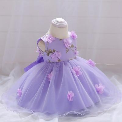 Newborn Baby Dresses Flowers Butterflies Purple Pink vetement bebe fille Vestido infantil Vestidos Bebe recien nacido flores