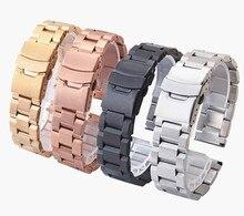 Часы band18mm 20 мм 22 мм 24 мм серебро розовое золото черный мужские замена нержавеющая сталь ремешки для наручных часов ремень браслет