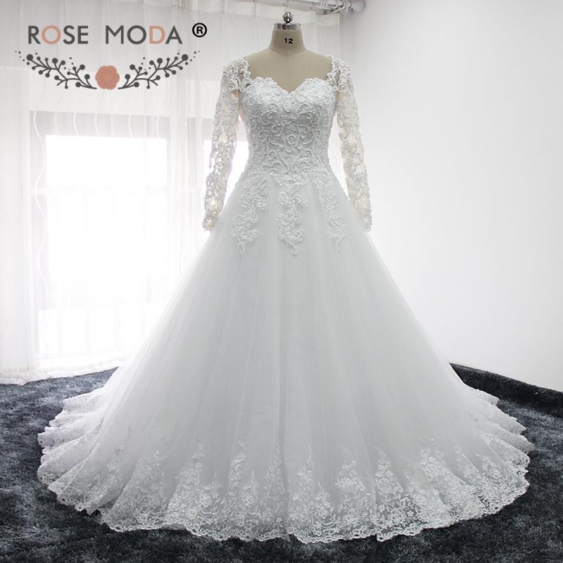 7c3f5ee9cd509 Rose Moda Long Sleeves Arabic Wedding Dress Pearl Beaded Lace Wedding  Dresses Ball Gown 2019-in Wedding Dresses from Weddings   Events on  Aliexpress.com ...