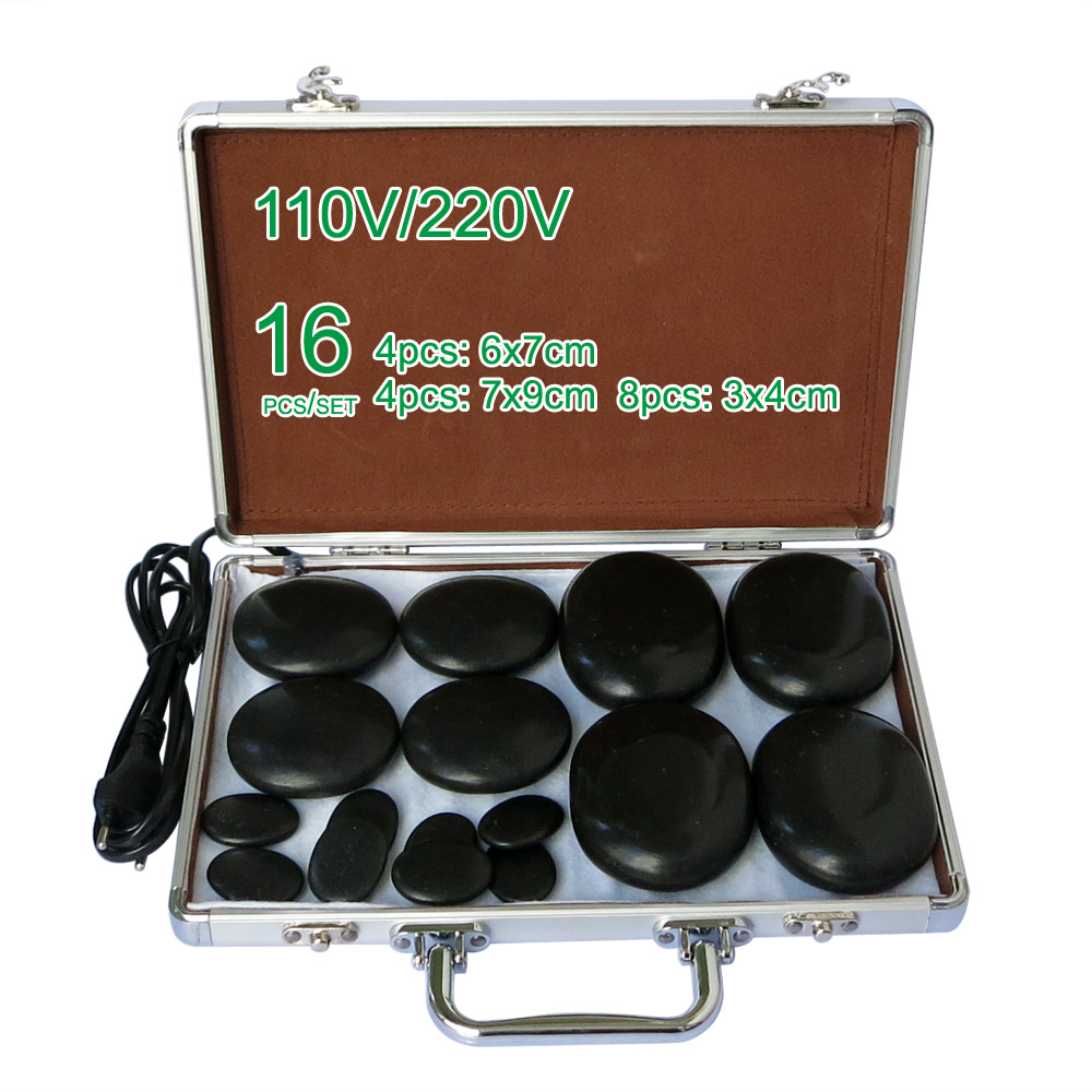 ФОТО NEW wholesale & retail electrical heating 110/220V SPA hot energy stone 16pcs/set with heat box (model 4+4+8)