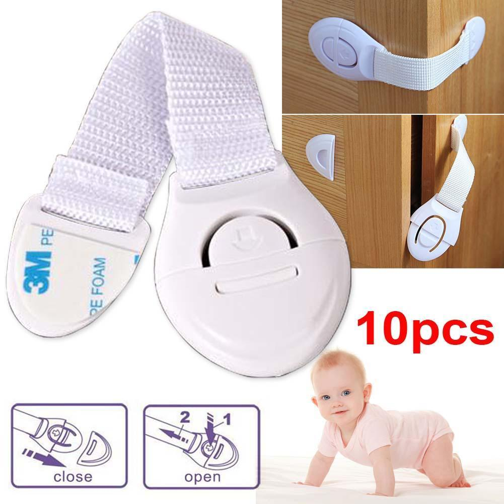 10 Pcs Child Infant Baby Kids Drawer Door Cabinet Cupboard Toddler Safety Locks Straps
