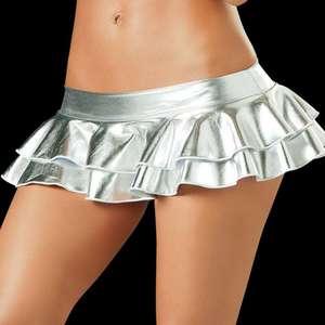 Image 4 - Młode dziewczyny Sexy wyglądające na mokre lateksowe spódnice kobiety Pole klub taneczny nosić krótkie spódniczki ze skóry lakierowanej mikro krótka spódniczka taniec spódnice