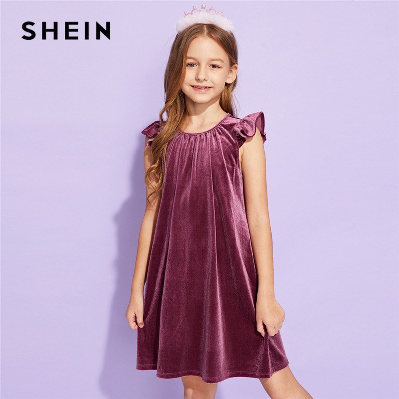 SHEIN Kiddie Purple Solid Ruffle Armhole Velvet Girls Cute Dress Children 2019 Summer Sleeveless Casual Short Kids Tunic Dresses new baby girls fall children clothes cute solid color dress with white lace ruffle dress girls boutique summer soft denim dress