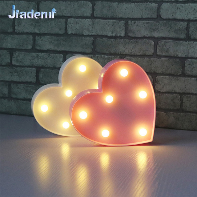 Jiaderui LED Heart Shaped Night Light Home Bedroom Decoration Wall Desk Light Wedding Party Decor 3D LED Night Lights Kids Gift