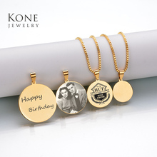 Etsy Custom Jewelry Personality Engrave Monogram Name Plated Necklace Coin Stainless Steel Necklace For Women Gift