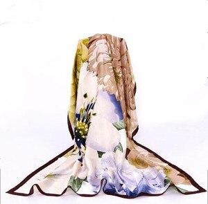 Image 1 - 100% シルクフラワースカーフソフトブランドスカーフパシュミナ高品質