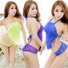 Lace Mesh Tassle Hollow Halter Sexy Lingerie Ultra Fishnet Stomachers Stage Pole Dance Costumes Adult Sex Products Uniform Hot