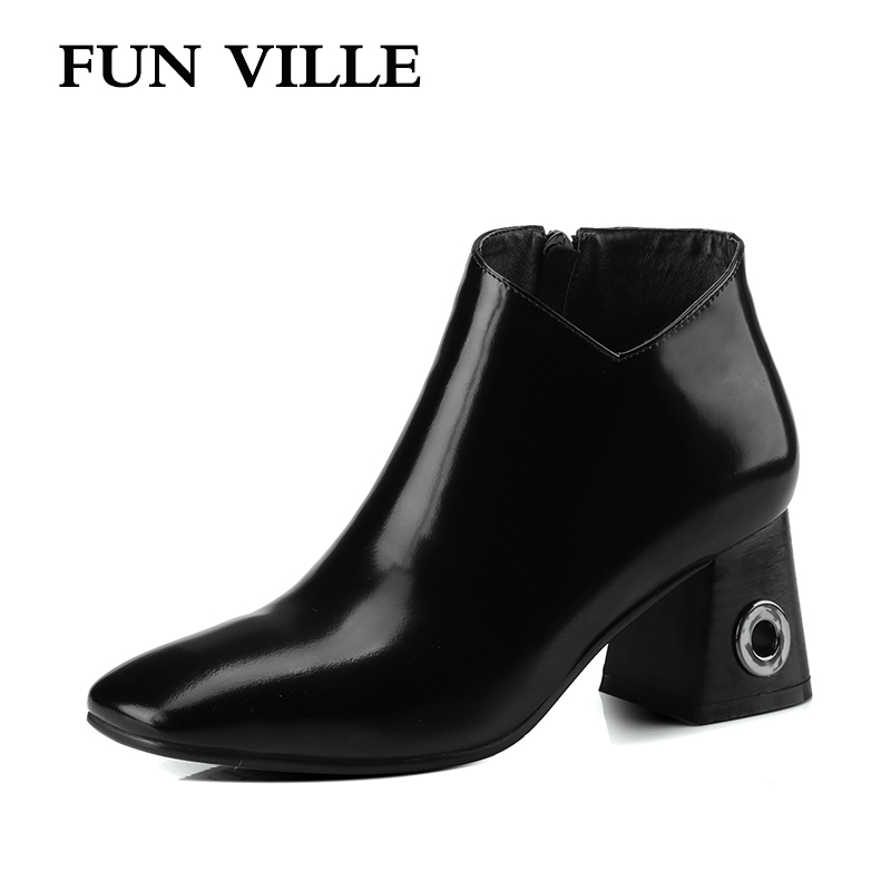 FUN VILLE 2017 New Fashion Autumn women Ankle boots Genuine leather High Heel Square toe Zipper Black Sexy Lady shoes Size 34-42 front lace up casual ankle boots autumn vintage brown new booties flat genuine leather suede shoes round toe fall female fashion