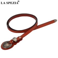 LA SPEZIA Camel Belt Women Ethnic Real Leather Pin Ladies Fashion Designer Female Genuine Cowhide Accessories