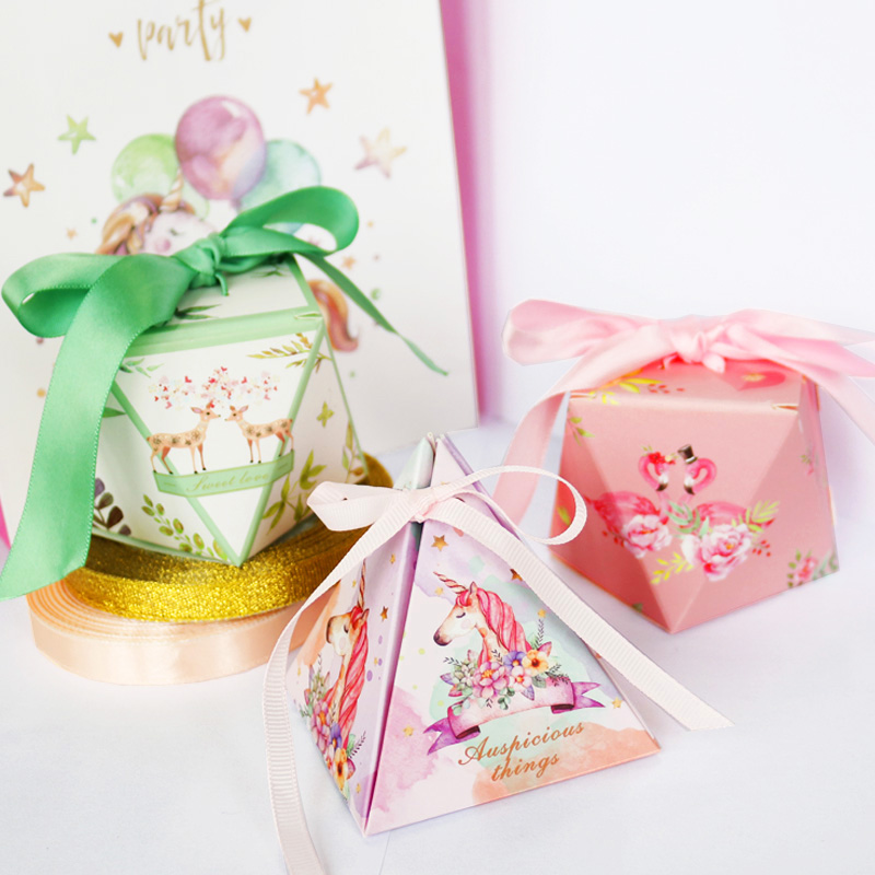 Detail Feedback Questions About 5pcs Gift Candy Paper Box Unicorn