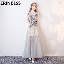 A Line Elegant Silver Evening Dresses Applqiues Long Floor Length Party Gowns For Women Tulle Prom Dress Vestido De Festa