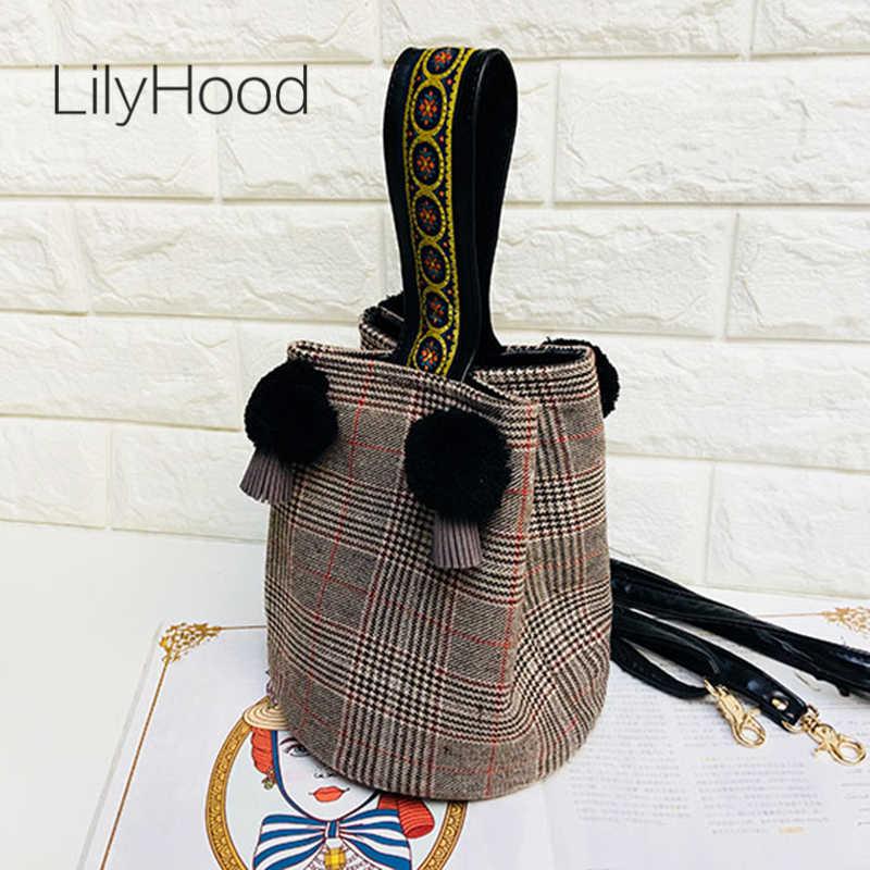 d2bb51ace085 LilyHood Женская шерстяная фетровая Верхняя ручка маленькая сумка-тоут  женская Pom Boho Chic твид вышивка