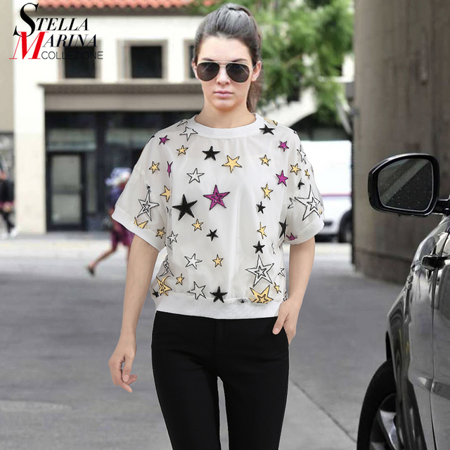 b7b04eb634b New 2018 Short Sleeves Women Top White Black Summer Tee Shirt With Colorful  Stars Girls Stylish