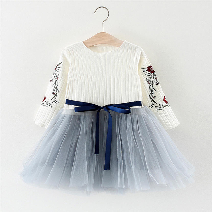d5e73040c0c7 Cute Girls Princess Dress Spring 2018 Toddler Girl Jersey Dress Long Sleeve  Floral Tulle Tutu Dress Outfit Dropshipping 823-in Dresses from Mother &  Kids on ...