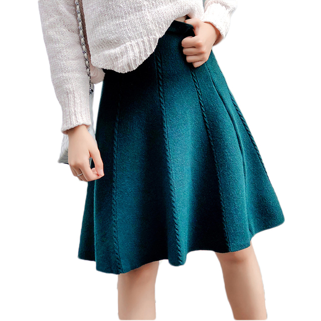 2019 Autumn Winter Knitted Skirt Women Midi High Waist A Line Knit Skirts One-pieces Seamles Pleated Elastic Thick Faldas 1