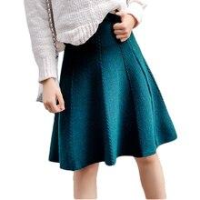 Женская трикотажная юбка средней длины с высокой талией и трапециевидной вязкой на осень и зиму 2020