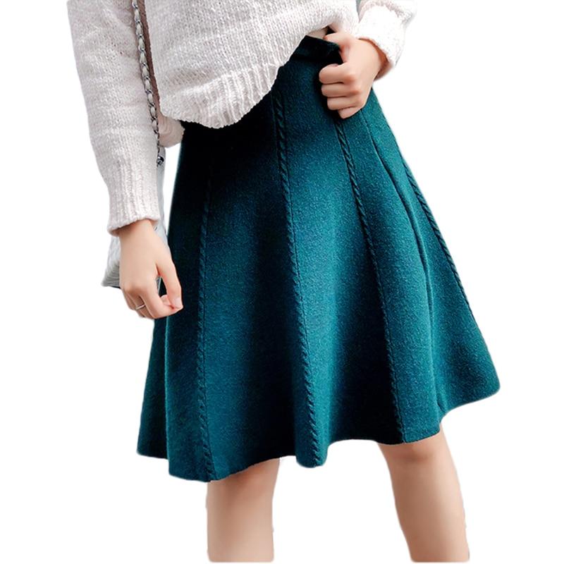 0bf299d649c2 2018 осень-зима вязаная юбка Для женщин миди Высокая ...