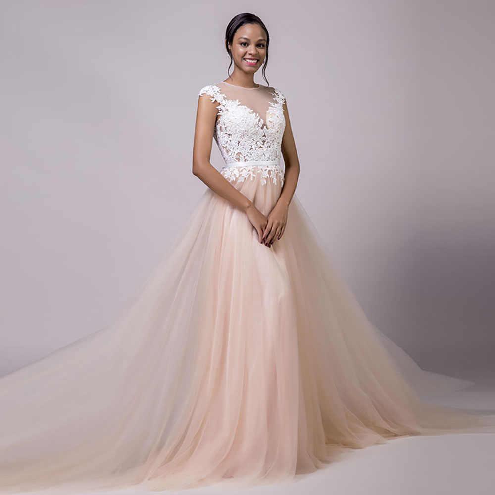 07988f1ef708 ... SoDigne Wedding dress 2018 Lace Appliques New Arrival Cap-sleeves  Romantic Dresses Bridal Gown Nude ...