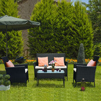 Costway 4 PCS Patio Rattan Wicker Furniture Set Loveseat Sofa Cushioned Outdoor Garden Yard