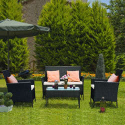 Costway 4 PCS Terrasse Rattan Wicker Möbel Set Sofa Sofa Gepolsterte Outdoor Garten Hof