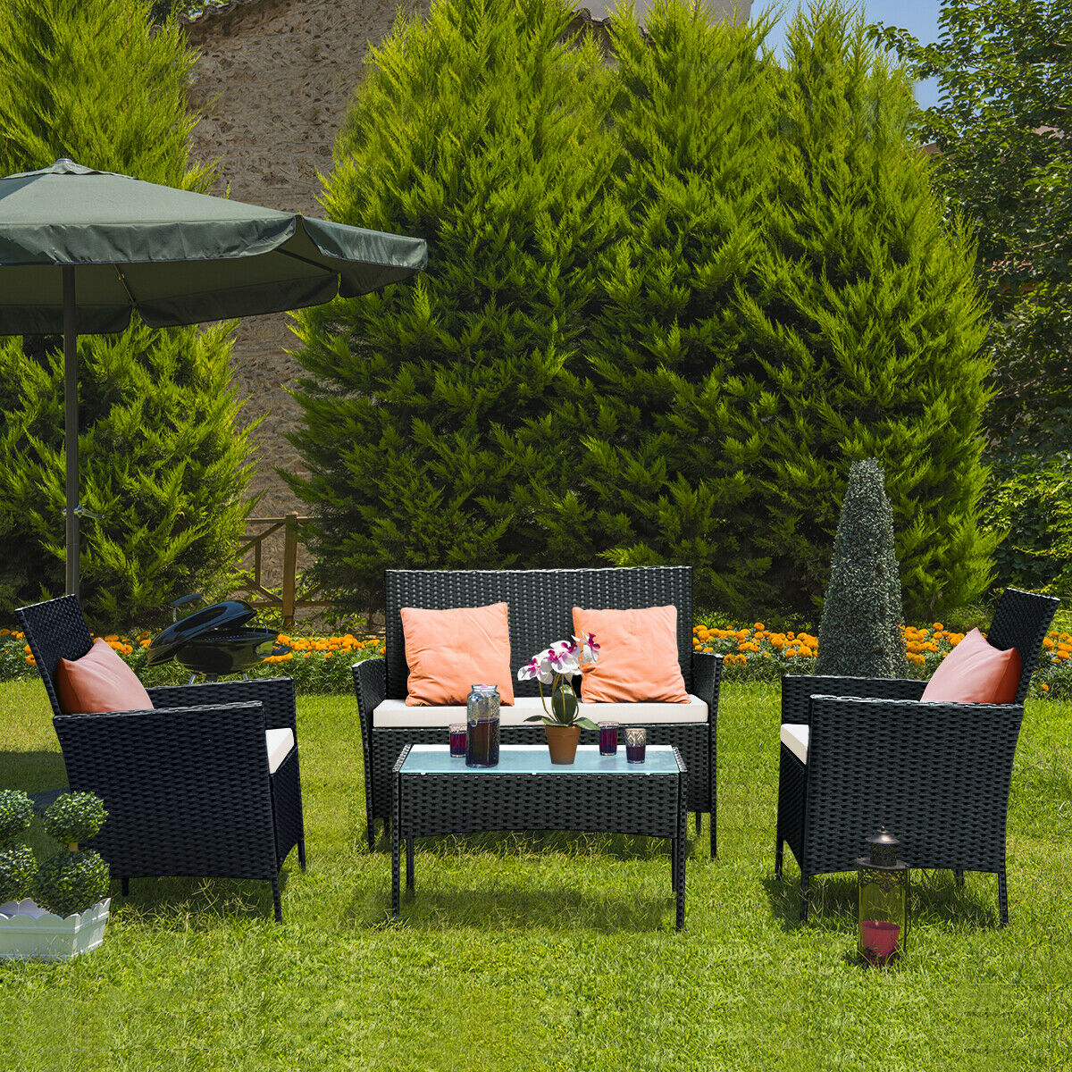 Costway 4 PCS Patio Rattan Wicker Furniture Set Loveseat Sofa Cushioned Outdoor Garden Yard