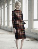 Wholesale Deep Blue Color Line Pattern Weave Wool Fabric Coat Print Satin Floral Process Tweed Fabrics