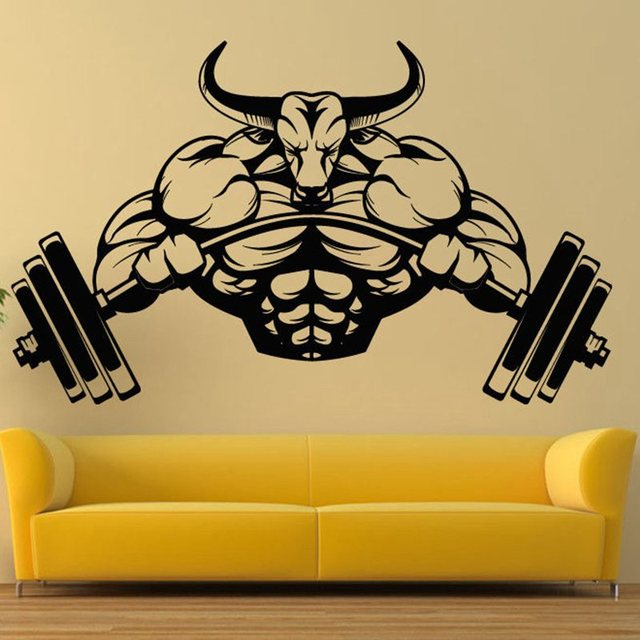 Gym Sticker Barbell Bull Fitness Decal Body building Posters Vinyl ...
