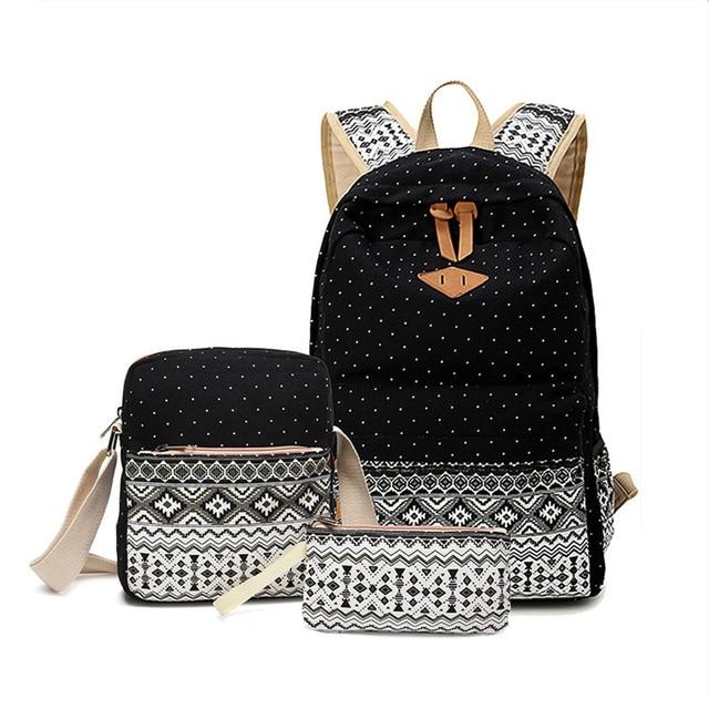 Vintage Girls School Bags for Teenagers girl Schoolbag Canvas Bag women travel  bags printing School Backpack Rucksack Bagpack cdc63a6e0d