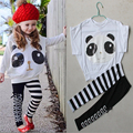 2017 Kids Clothing Set Girls Cartoon Panda Clothes sets for Children Summer Clothes