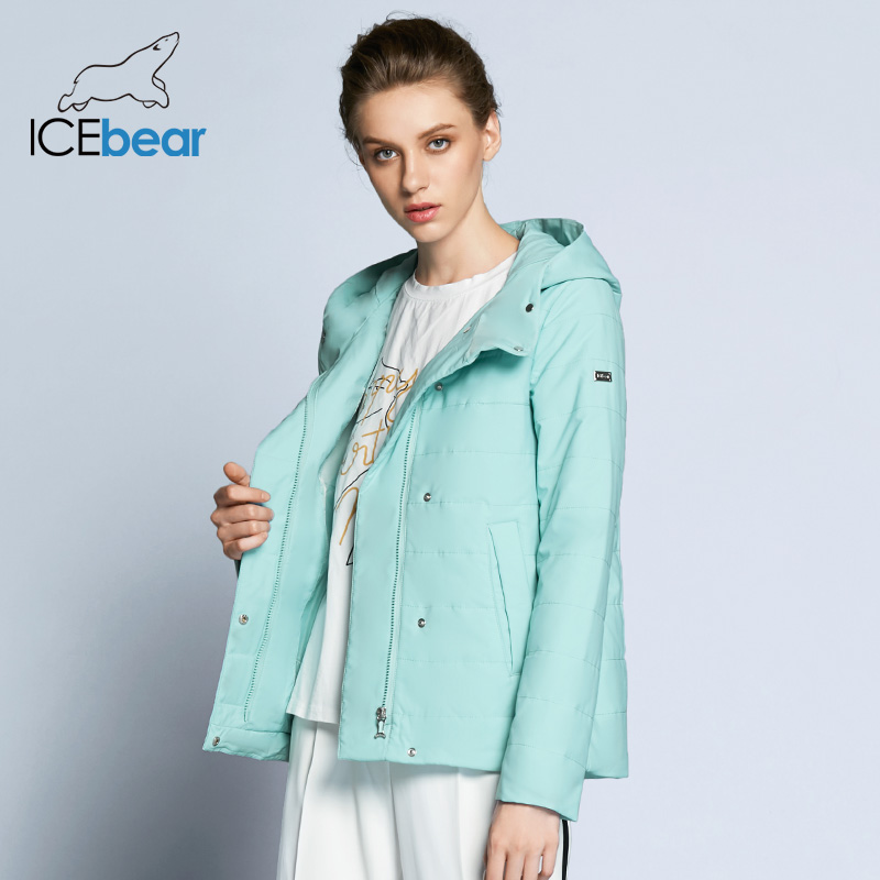 ICEbear 2019 Double Breasted Cotton Padded Fashion Warm   Parka   Outerwear Autumn Spring Short Womens Coats And Jackets GWC82117D