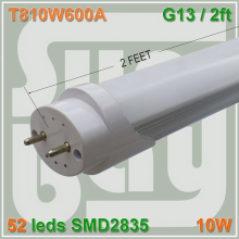 10pcs/lot free shipping Good quality LED tube T8 lamp 10W 600mm 0.6M 60cm 2ft compatible with inductive ballast remove starter