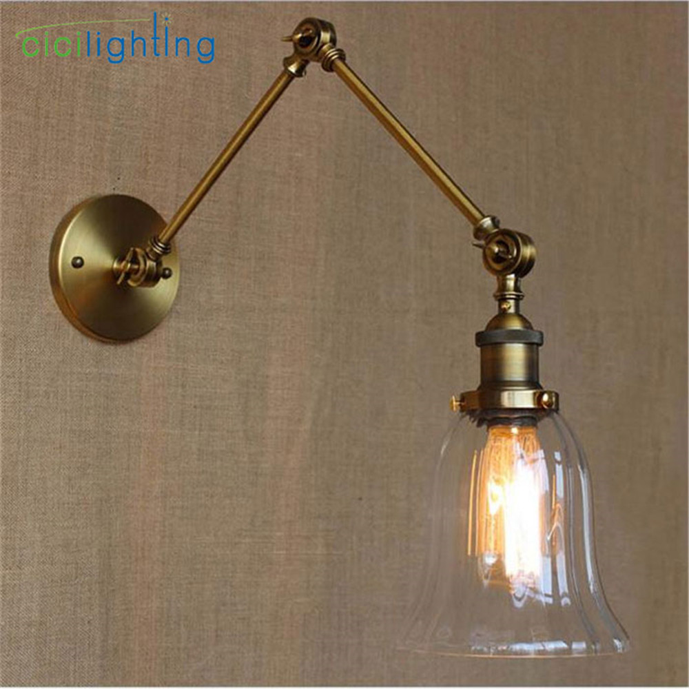 Vintage Wall sconces lamp bronze plated double mechanica arm glass lampshade decorative wall light sconce fixture wandleuchte ac100 240 wall sconces lamp three arms adjustable study restaurant art lights decorative wall light sconce fixture