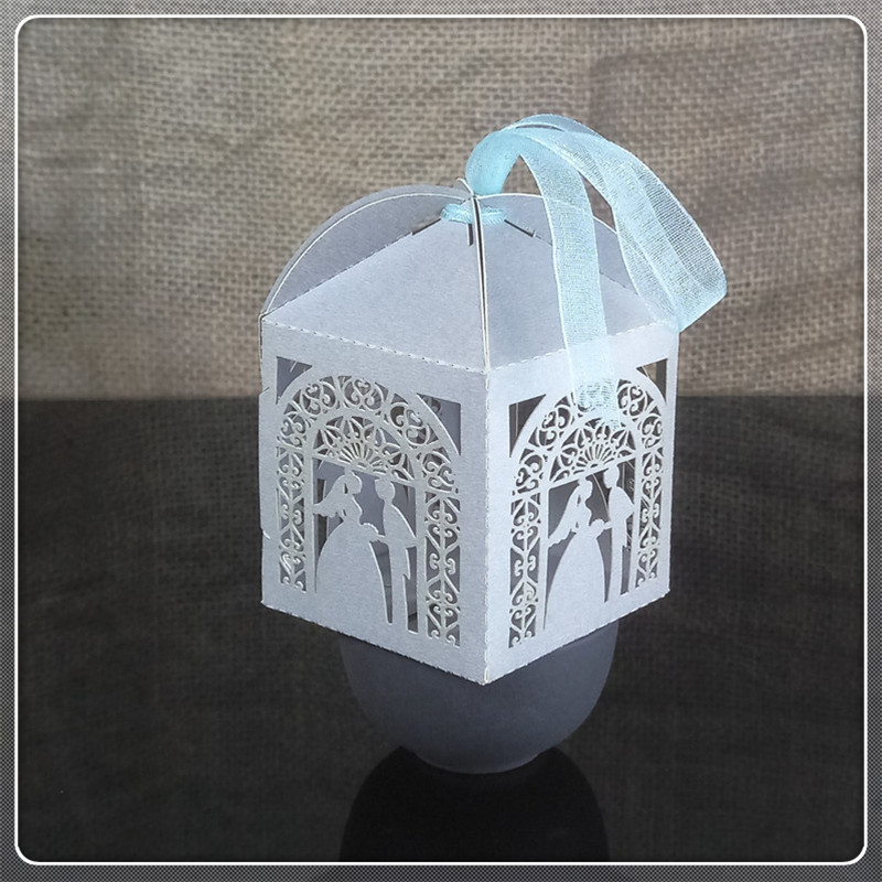 Halloween Wedding Gift Ideas: 50pcs Laser Cut Groom Bride Wedding Gift Box Birthday