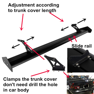 Image 2 - Регулируемый легкий алюминиевый Универсальный тюнинговый задний спойлер для автомобиля, седан, GT Wing, гоночный спойлер, черный зажим, крышка для багажника, 53,15 дюйма, 135 см