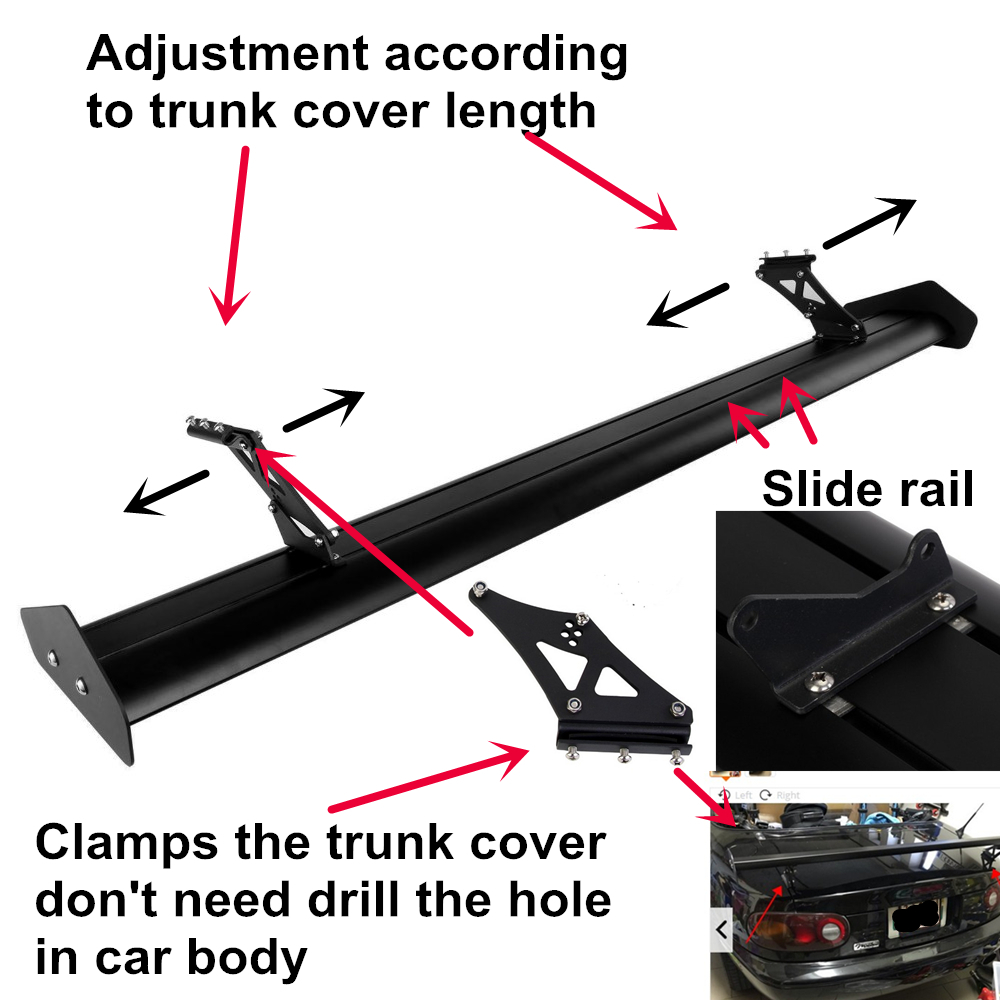 53 15 39 39 135cm Adjustable Lightweight Aluminum Universals Tuning Rear Car Sedan GT Wing Racing Spoiler Black Clamp Trunk Cover in Spoilers amp Wings from Automobiles amp Motorcycles