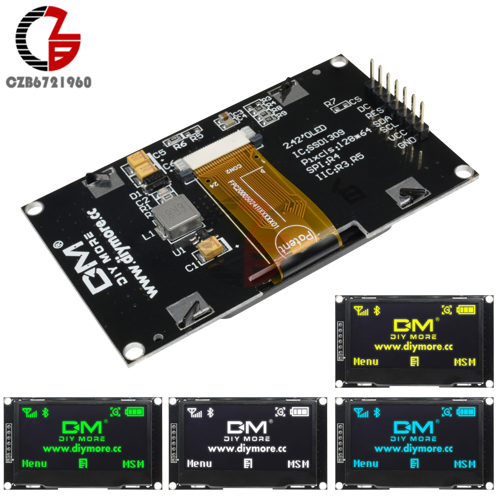 White Blue Green Yellow 242 242 inch LCD Screen 12864 OLED Display Module IIC I2C SPI Serial for C51 STM32 SSD1309