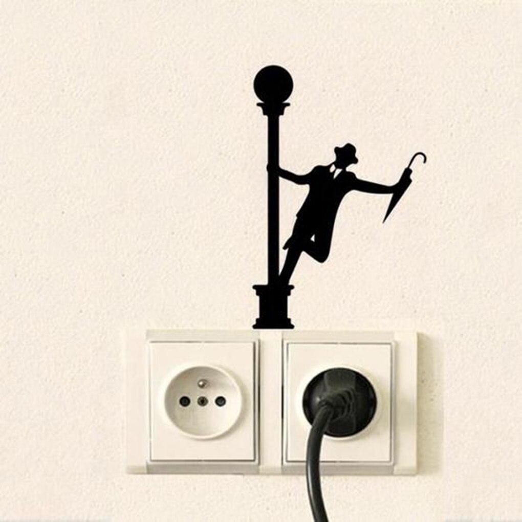 16*11cm Men Umbrella Wall Sticker Street Lamp Removable Switch Sticker PVC Home Decoration Decals
