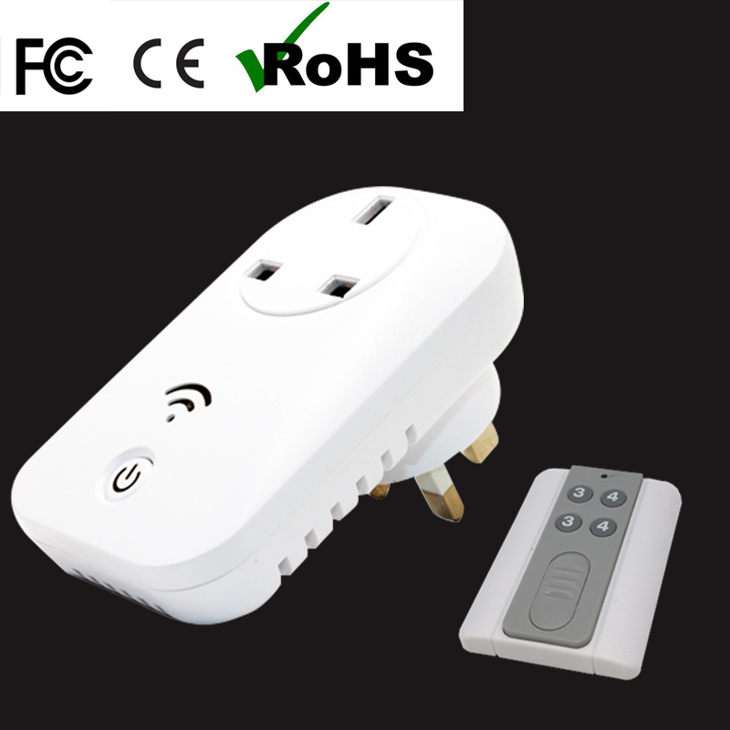 free shipping reasonable price 13A UK socket 220V socket practical and portable electric wall plug with Wireless Remote Control